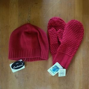 NWT Cashmere Hat and Mittens Set